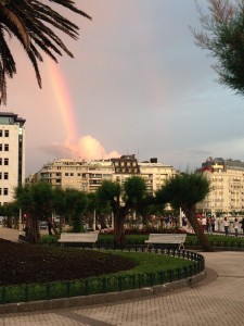 A rainbow over a park in the city of San Sebastian, Spain which is Lee's favorite place
