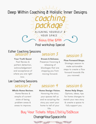 Aligning yourself and your space with a coaching package of 6 sessions with wellness coach and feng shui designer.